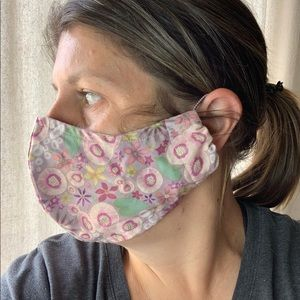 Accessories - Fitted floral fabric face mask washable elastic